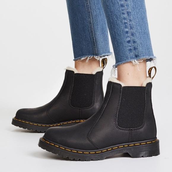dr martens fur lined chelsea boots black